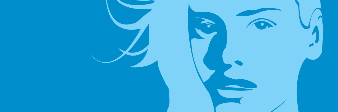 blue image of woman