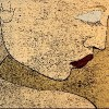 Woodprint technique on black paper of a sad, thinking woman's portrait