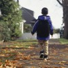 Boy walking along leaf-covered path