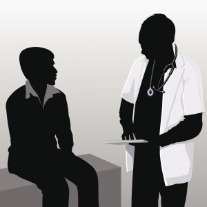 digital image of doctor and patient sitting on exam table