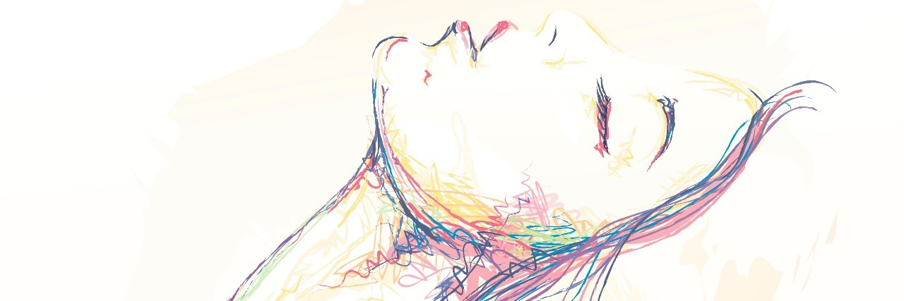 Illustration with a colored pencil effect of a woman leaning back with her eyes closed.