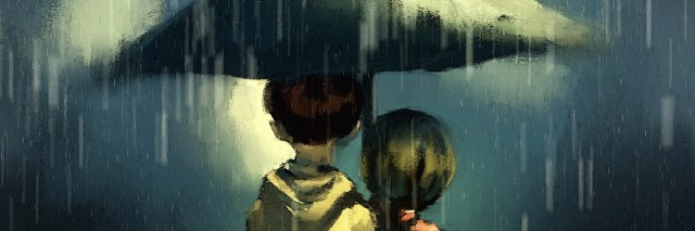 Couple walking in rainy, watercolor illustration