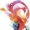 Image shows a woman in watercolor, without opening shapes and gradients;