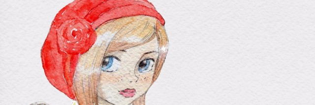 Watercolor little girl in red hat
