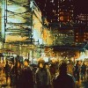 Illustration of people walking on city street at night