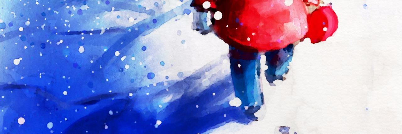 digital painting of little girl walking in winter outdoor, watercolor on paper texture
