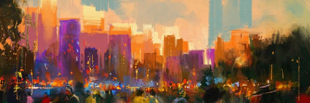 colorful painting of a city skyline with people