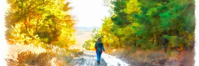Watercolor illustration of woman walking on road through forest