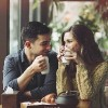couple drinking coffee and talking in a coffee shop