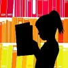Silhouette of child reading in front of bookshelves in a library