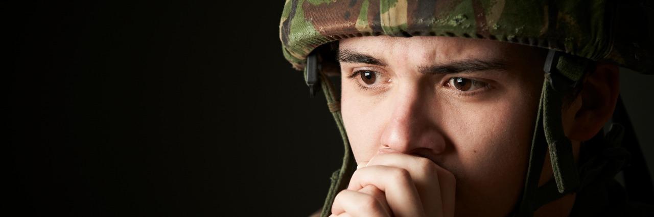 Soldier In Uniform looking upset