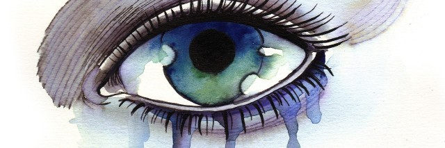 watercolor painting of an eye crying