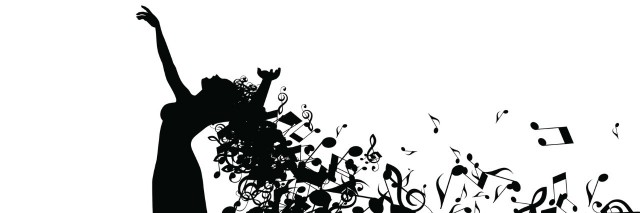 Silhouette of Opera Singer with Long Hair Like Musical Notes.