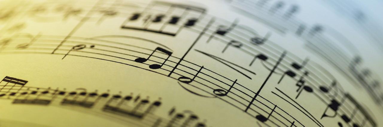 close up of sheet music