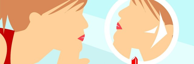 A illustration of a woman looking in the mirror and putting on lipstick