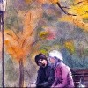 Illustration of man and woman sitting on park bench on autumn day