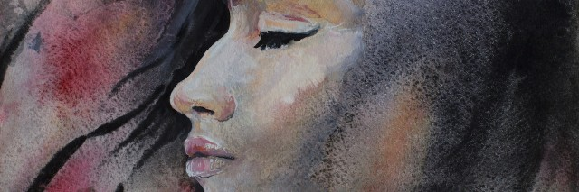 Watercolor portrait of a girl in profile with her eyes closed on a colorful background