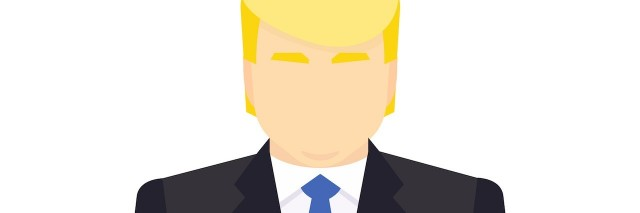 illustration of a man who looks like Donald Trump in a suit