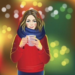 illustration of woman in red sweater smiling and holding a mug in front of colorful background