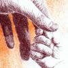 Holding child's hand.