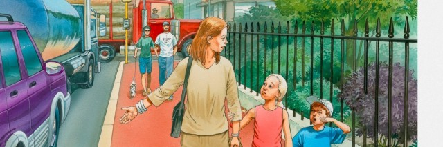 Illustration of woman and two children walking on pavement along street full of cars and trucks with fumes clouding the sky
