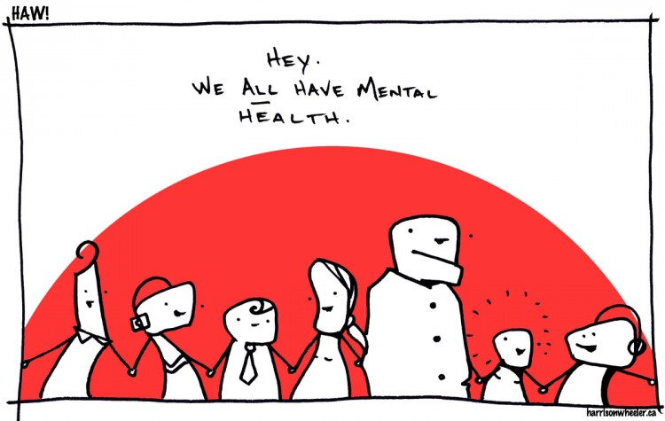 "Illustration of people with the text ""Hey. We all have mental health."""