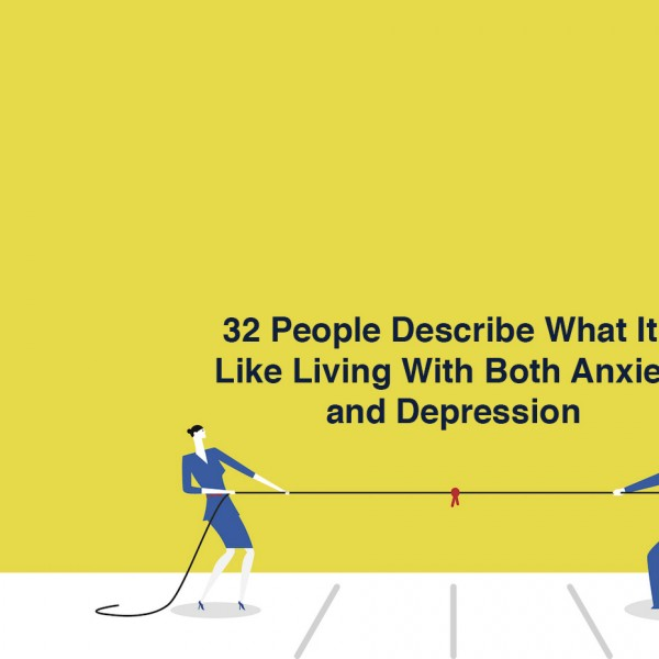 two cartoon people in a tug of war. Text reads: 32 people describe what it's like living with both anxiety and depression