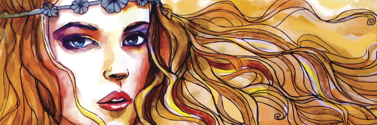 watercolor portrait of beautiful woman with long hair and flower headband