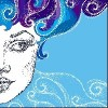 drawing of half of woman's face with purple and blue hair