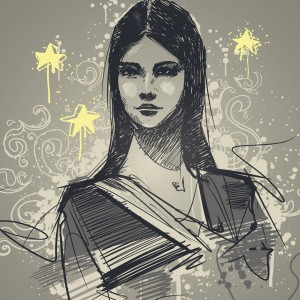 drawing of woman with stars around head