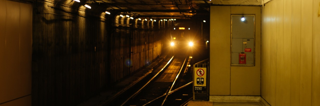 Photo of a subway train approaching the station