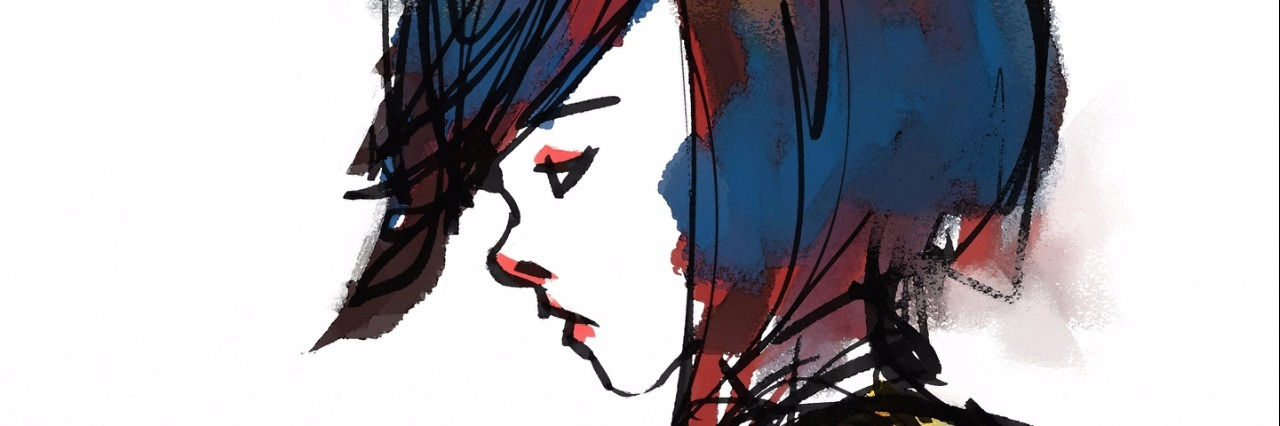 watercolor illustration of sad girl looking down