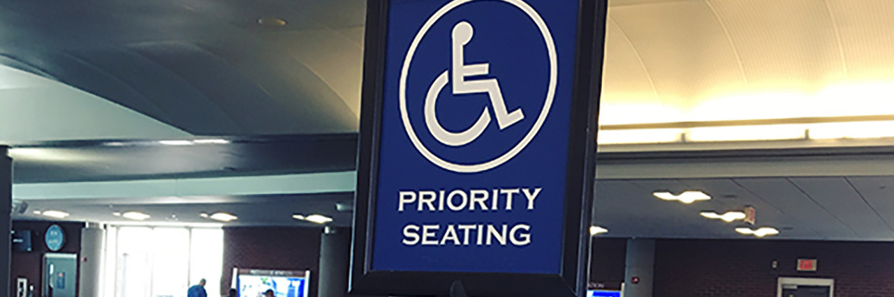 Disability reserved section at airport.