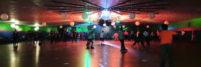 indoor roller skating rink with colored lights