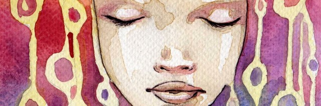 watercolor portrait of woman's face with rainbow pattern behind her