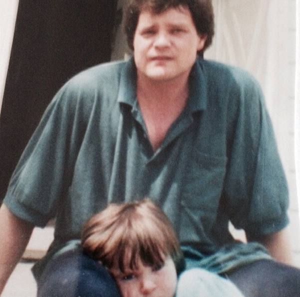 An old picture of the author as a child and her father
