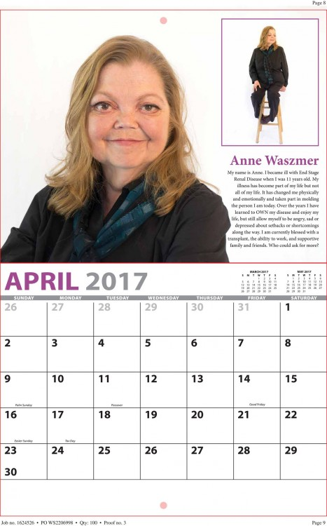 Screenshot of April's chronic beauty calendar, featuring a white woman with blonde hair.