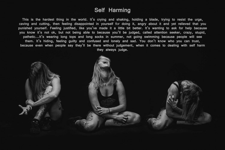 Three images of a woman scratching herself