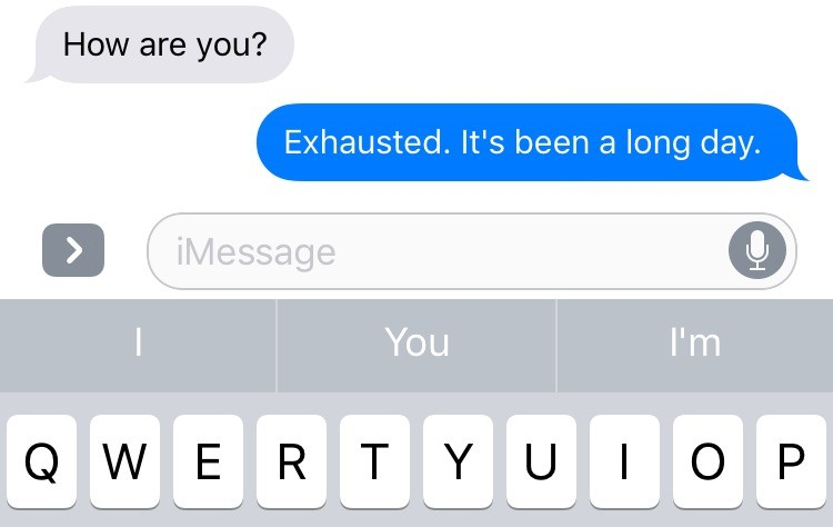 text that says exhausted. it has been a long day