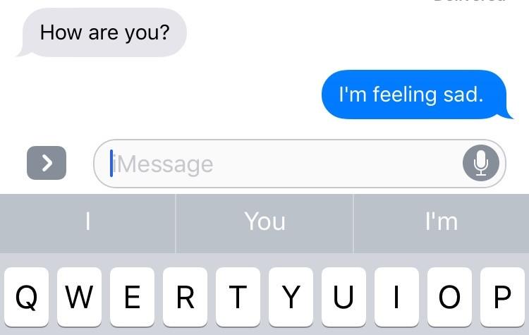 screenshot of text that says im feel sad
