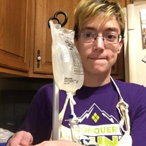 woman with IV bag