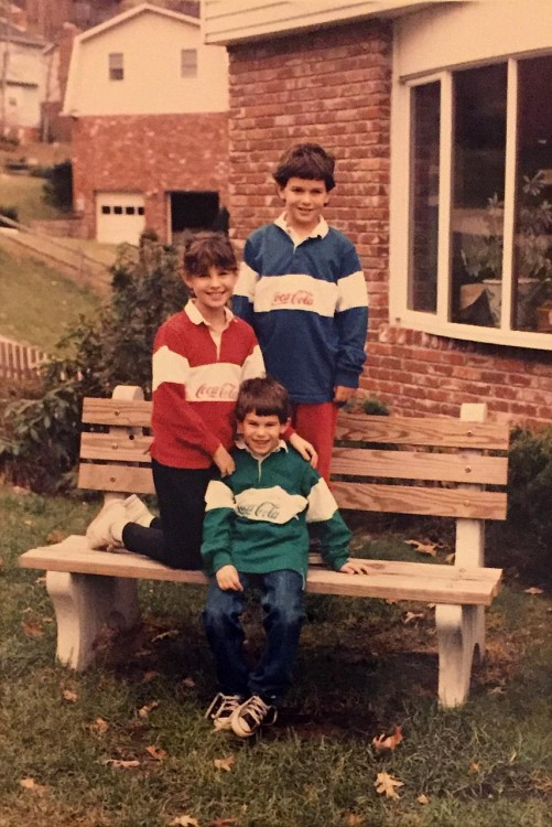 An old photo of the author and her two brothers