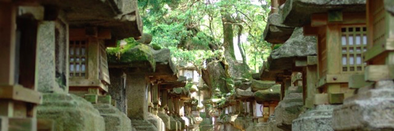 stone sculptures in forest