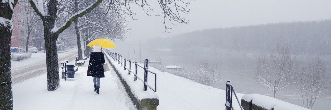 Woman walking with umbrella on snowy winter day