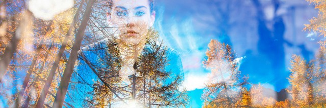 Double exposure of beautiful girl and autumn landscape