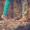 Couple Man and Woman Feet in Love Romantic Outdoor with Autumn season nature on background Fashion trendy style