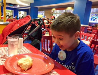 little boy looking at chicken