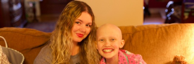 young woman and childhood cancer patient