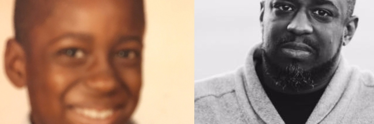 Side-by-side photos of Lamar as a teenager and Lamar today