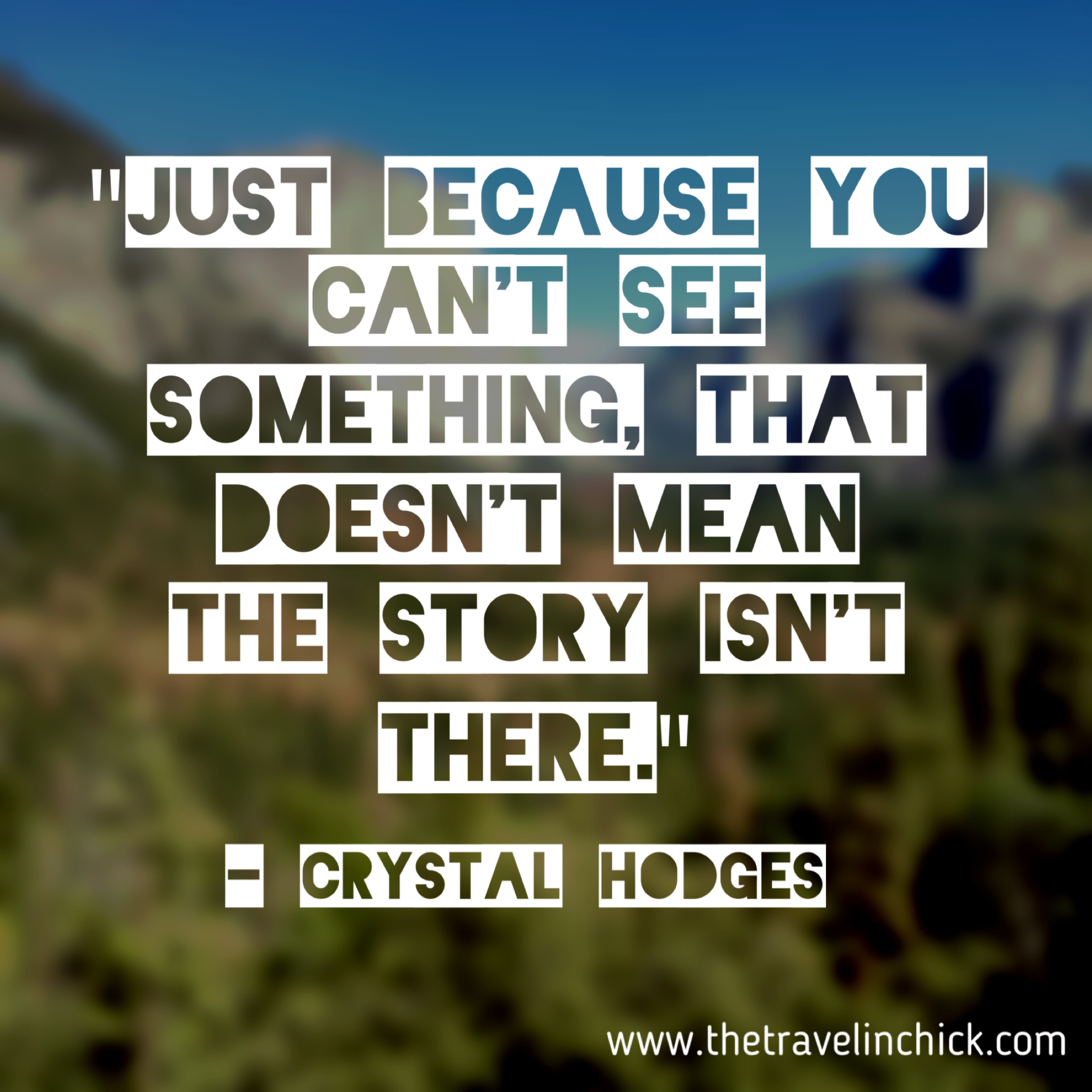 Meme that says [just because you can't see something, that doesn't mean the story isn't there. crystal hodges]